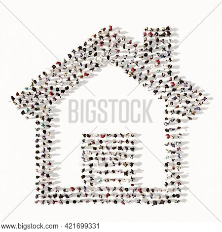 Concept conceptual large community of people forming the home button sign. 3d illustration metaphor for investment, real estate, construction, mortgage, residential