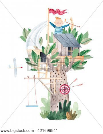 Cute watercolor children tree house. Stock illustration. Children's poster. Painting for the children's room. Isolated on white background.