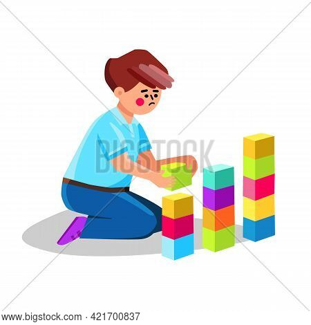 Autism Child Playing Alone With Cubes Toys Vector. Preteen Boy With Autism Spectrum Disorder Play Wi