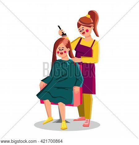 Hairdresser Hair Dye Client Girl With Brush Vector. Hairdressing Salon Worker Hair Dye With Paintbru