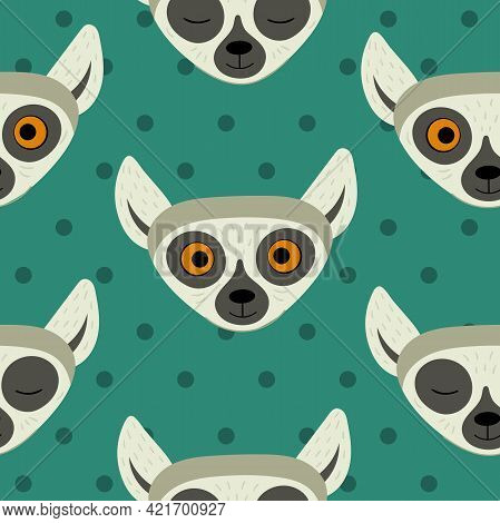 Seamless Pattern With Heads Of Lemurs. Exotic Cute Animals Of Madagascar And Africa. Vector Illustra