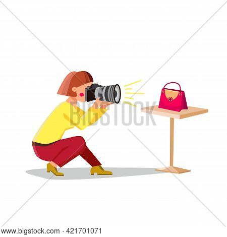Product Photography Making Photographer Vector. Young Woman Make Product Photography On Photo Camera