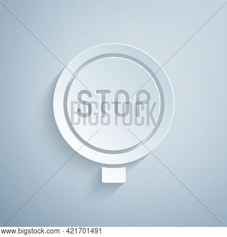 Paper Cut Stop Sign Icon Isolated On Grey Background. Traffic Regulatory Warning Stop Symbol. Paper