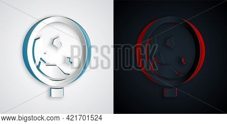 Paper Cut Road Sign Warning Avalanche Rockfall Landslides Icon Isolated On Grey And Black Background