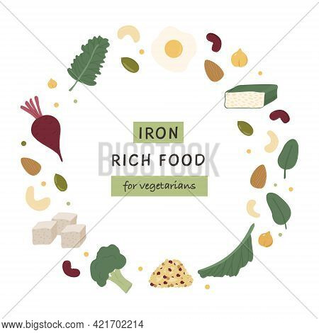 Collection Of Iron Rich Food Sources For Vegetarians. Beets, Tempeh, Kale, Quinoa, Broccoli, Tofu, L