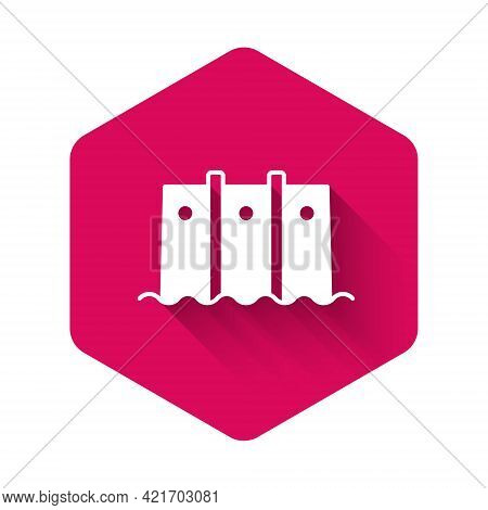 White Hydroelectric Dam Icon Isolated With Long Shadow Background. Water Energy Plant. Hydropower. H
