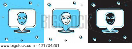 Set Alien Icon Isolated On Blue And White, Black Background. Extraterrestrial Alien Face Or Head Sym