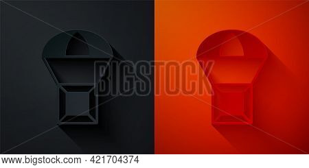 Paper Cut Box Flying On Parachute Icon Isolated On Black And Red Background. Parcel With Parachute F
