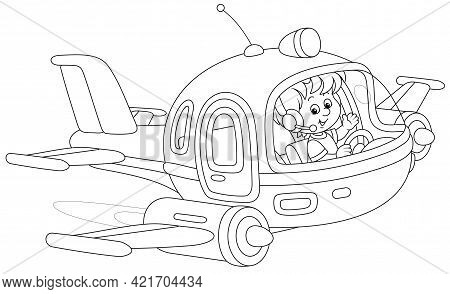 Happy Little Boy Piloting A Toy High-speed Jet Plane On A Playground, Black And White Outline Vector