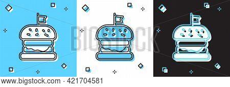 Set Burger Icon Isolated On Blue And White, Black Background. Hamburger Icon. Cheeseburger Sandwich