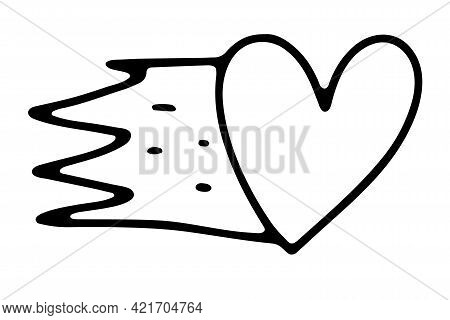Doodle Valentines Day Fiery Heart. Hand-drawn Outline Love Symbol Isolated On White Background. Cute
