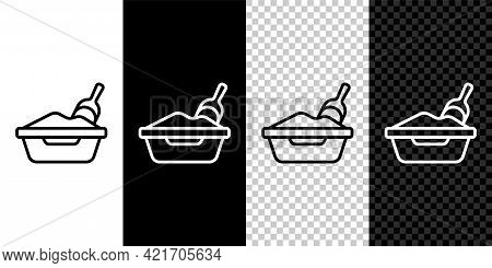 Set Line Cat Litter Tray With Shovel Icon Isolated On Black And White, Transparent Background. Sandb