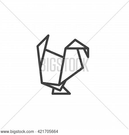 Turkey Origami Line Icon. Linear Style Sign For Mobile Concept And Web Design. Paper Turkey Bird Out