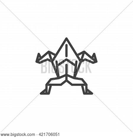 Origami Frog Line Icon. Linear Style Sign For Mobile Concept And Web Design. Paper Frog Outline Vect