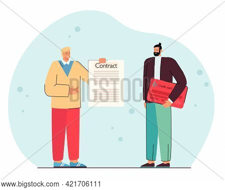 Man Signing Contract For Credit Card. Male Character Receiving Credit Card. Signing Documents. Accou