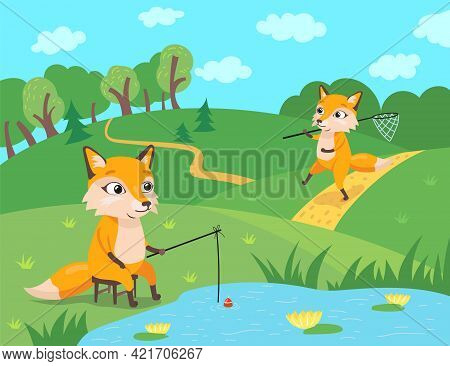 Cute Fox Characters Fishing And Catching Butterflies In Forest. Orange Mammal With Rod Sitting On Ch