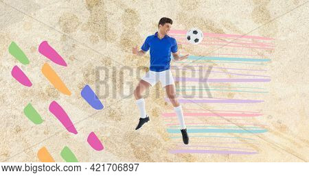 Composition of football player with ball over colourful spots on concrete surface. sports event and competition concept digitally generated image.