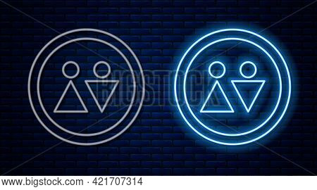 Glowing Neon Line Toilet Icon Isolated On Brick Wall Background. Wc Sign. Washroom. Vector