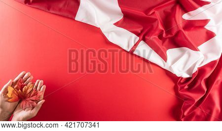 A Beautiful Canada National Flag Cloth Fabric With Hand Holding Maple Leaf Against Red Background. A