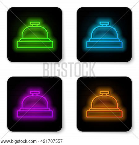 Glowing Neon Line Hotel Service Bell Icon Isolated On White Background. Reception Bell. Black Square