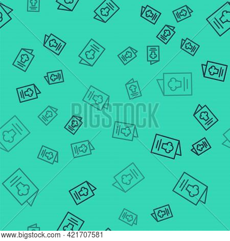 Black Line Cookbook Icon Isolated Seamless Pattern On Green Background. Cooking Book Icon. Recipe Bo