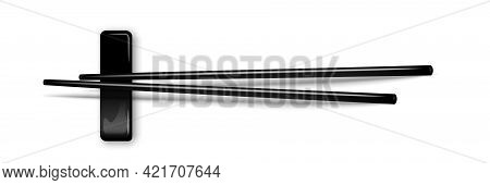 Black Chopsticks Flat Lay Illustration Isolated On White Background. Pair Of Sushi Sticks. Vector Re