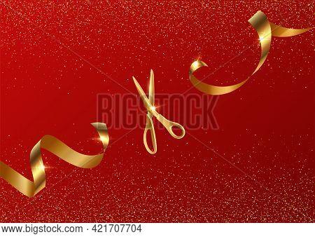 Golden Scissors Cut Ribbon Realistic Illustration. Grand Opening Ceremony Symbols, 3d Accessories On