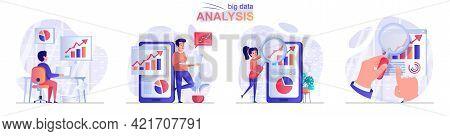 Big Data Analysis Concept Scenes Set. Analyst Works With Statistics, Analyzes Business Data Charts,
