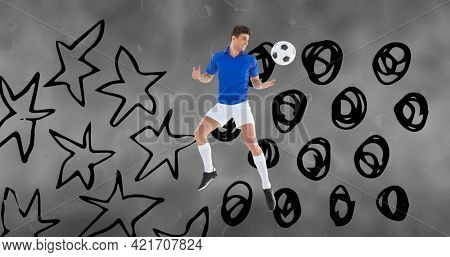 Composition of football player with ball over stars and dots on grey clouds. sports event and competition concept digitally generated image.