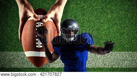 Composition of american football player throwing ball over pitch. sport event and competition concept digitally generated image.
