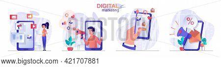 Digital Marketing Concept Scenes Set. Social Media Promotion, Customer Attracting, Online Advertisin