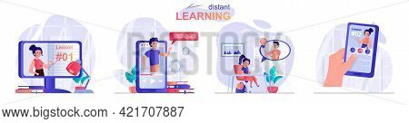 Distant Learning Concept Scenes Set. Online Training From Different Gadgets, Video Tutorials, Webina