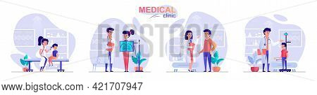 Medical Clinic Concept Scenes Set. Doctor Diagnoses Patient, Children At Pediatrician Appointment, W