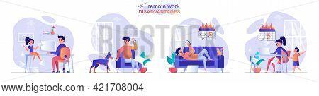Remote Work Disadvantage Concept Scenes Set. Child Or Dog Interferes With Work, Man Breaks Deadline,