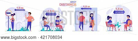 Social Distance Concept Scenes Set. Men And Women Keep Safe Distance In Public Places, Preventing Co
