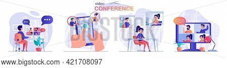 Video Conference Concept Scenes Set. Men And Women Calling Via Video Communication, Business Meeting