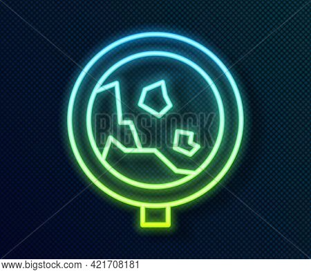 Glowing Neon Line Road Sign Warning Avalanche Rockfall Landslides Icon Isolated On Black Background.