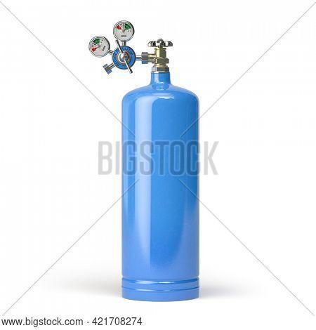 Oxygen tank cylinder isolated on white background. 3d illustration