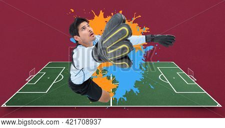 Composition of football goalkeeper over football pitch. sport event and competition concept digitally generated image.