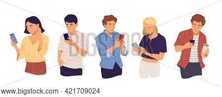 Young People Using Technology Gadget, Smartphone, Mobile Phone In Communication Concept. Female And