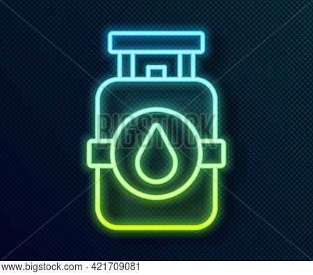 Glowing Neon Line Propane Gas Tank Icon Isolated On Black Background. Flammable Gas Tank Icon. Vecto