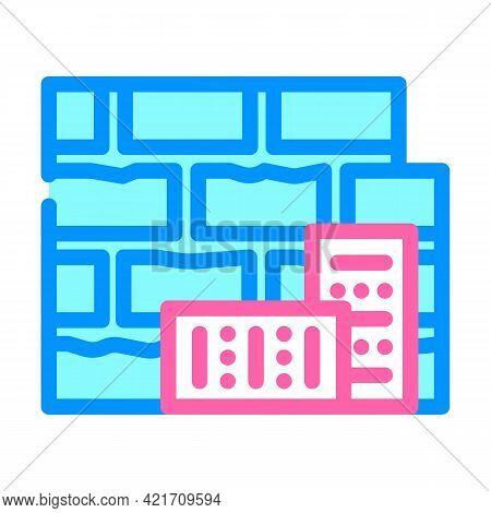 Brick Building Material Color Icon Vector. Brick Building Material Sign. Isolated Symbol Illustratio