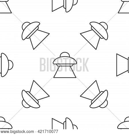 Grey Line Ufo Flying Spaceship Icon Isolated Seamless Pattern On White Background. Flying Saucer. Al