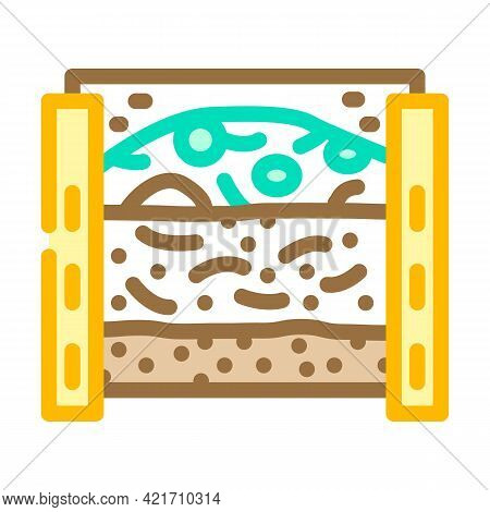 Layers Of Material In Composter Color Icon Vector. Layers Of Material In Composter Sign. Isolated Sy