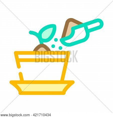 Potted Plant With Compost Color Icon Vector. Potted Plant With Compost Sign. Isolated Symbol Illustr