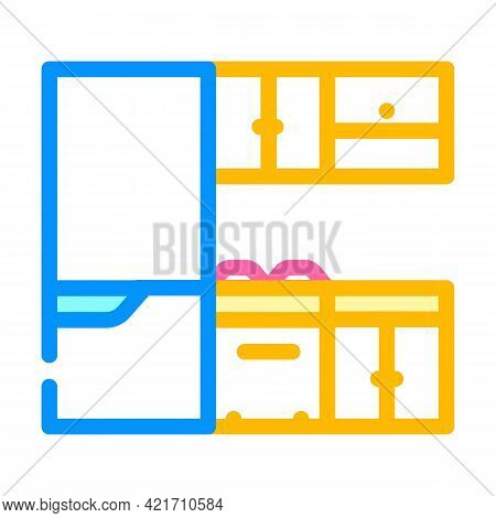 Kitchen Furniture Color Icon Vector. Kitchen Furniture Sign. Isolated Symbol Illustration