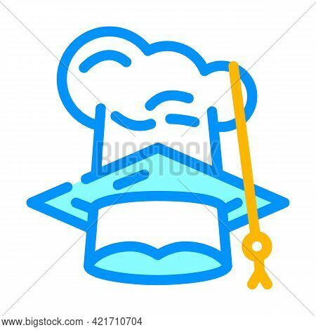 Chef And Graduate Cooking Courses Hat Color Icon Vector. Chef And Graduate Cooking Courses Hat Sign.