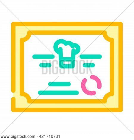 Diploma Cooking Courses Color Icon Vector. Diploma Cooking Courses Sign. Isolated Symbol Illustratio
