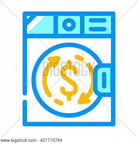 Money Laundering In Laundry Machine Color Icon Vector. Money Laundering In Laundry Machine Sign. Iso