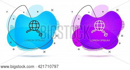 Line Global Economic Crisis Icon Isolated On White Background. World Finance Crisis. Abstract Banner